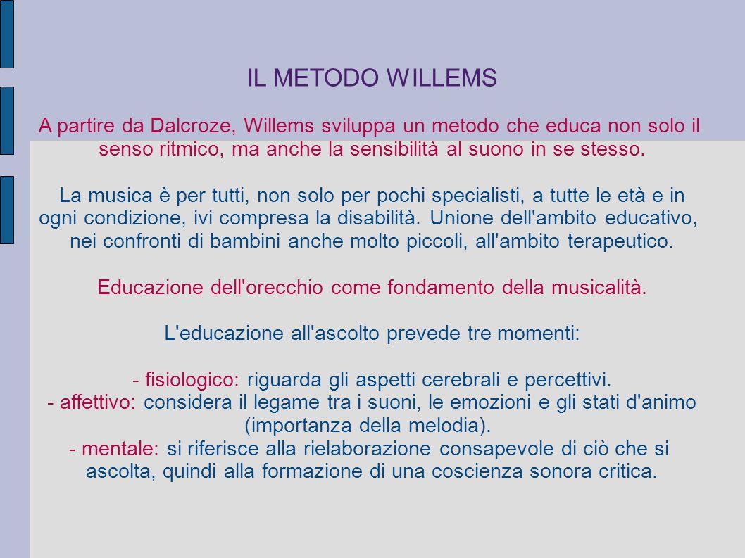 IL METODO WILLEMS A partire da Dalcroze, Willems sviluppa un metodo che educa non solo il senso ritmico, ma anche la sensibilità al suono in se stesso