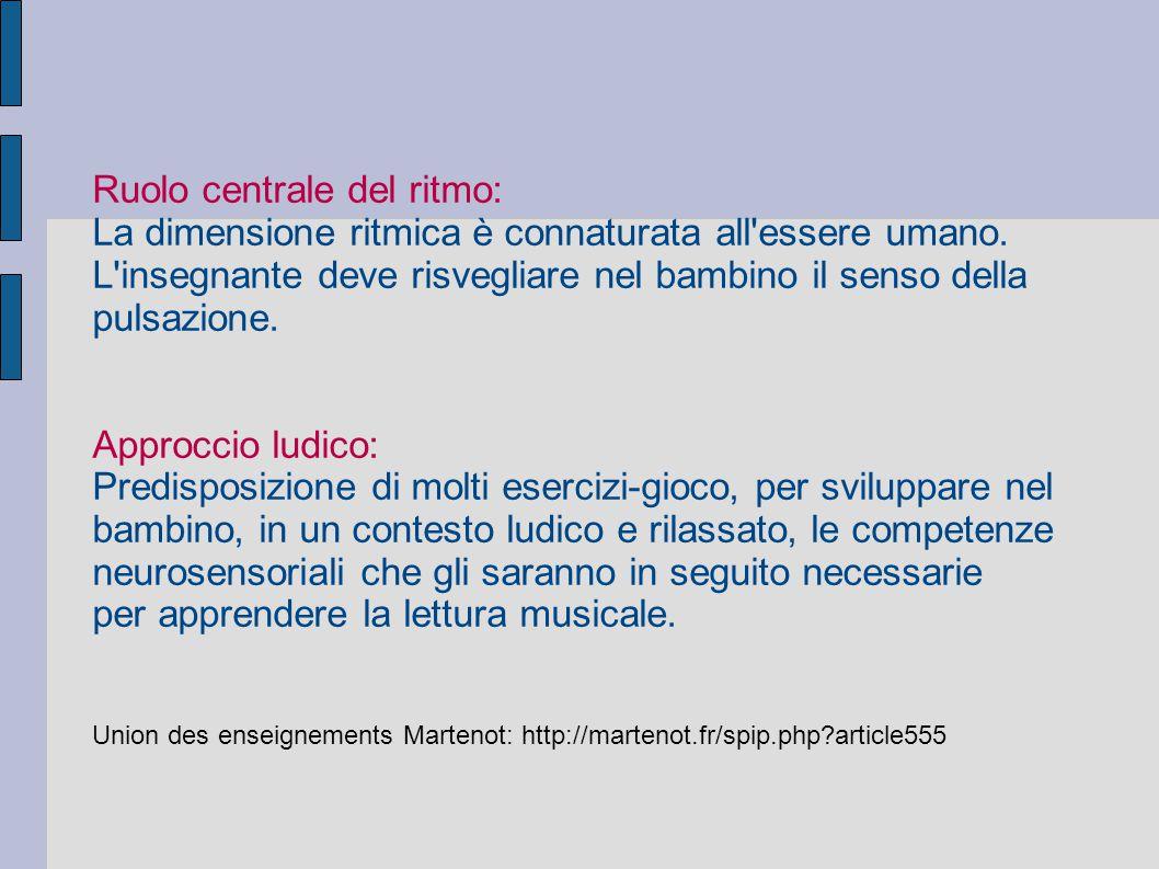 Ruolo centrale del ritmo: La dimensione ritmica è connaturata all'essere umano. L'insegnante deve risvegliare nel bambino il senso della pulsazione. A