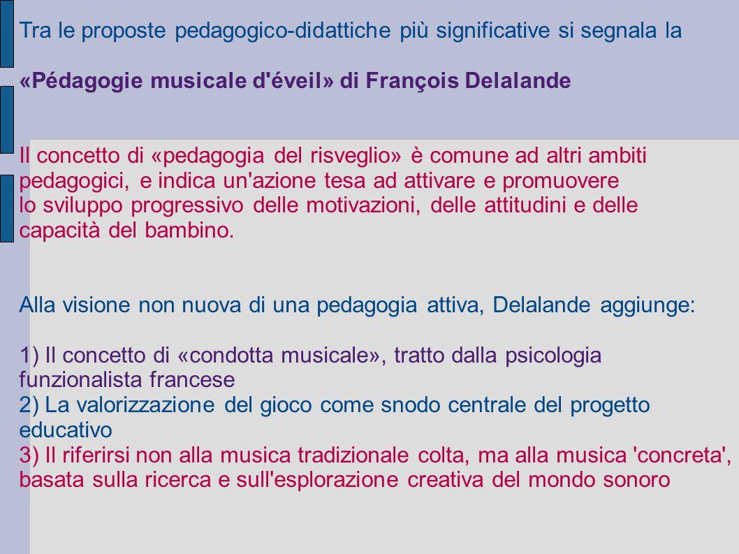 Tra le proposte pedagogico-didattiche più significative si segnala la «Pédagogie musicale d'éveil» di François Delalande Il concetto di «pedagogia del