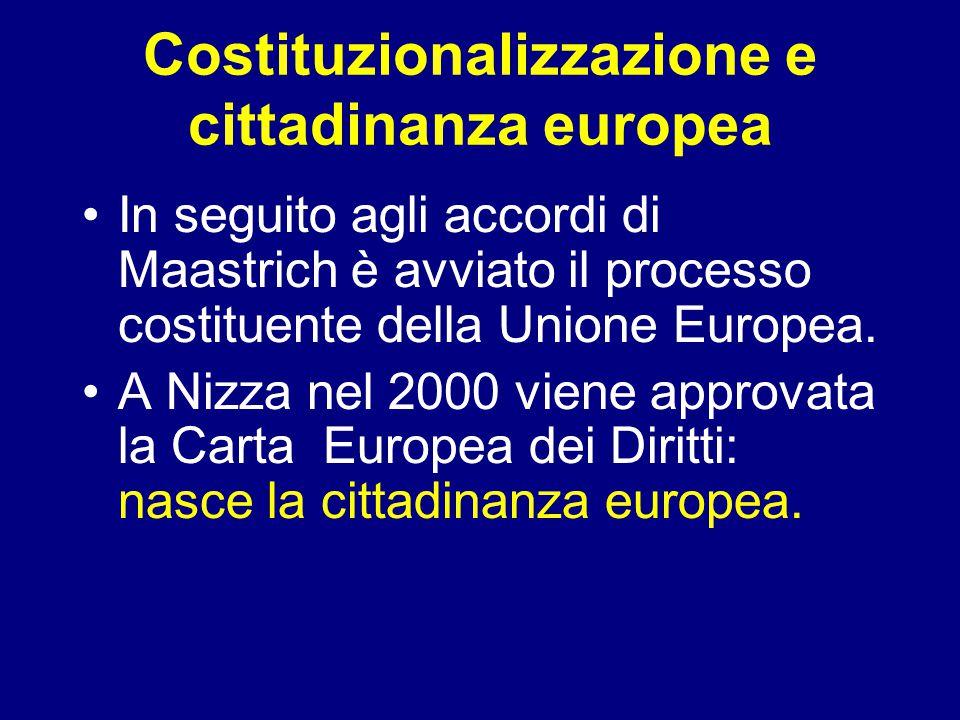 Costituzionalizzazione e cittadinanza europea In seguito agli accordi di Maastrich è avviato il processo costituente della Unione Europea.
