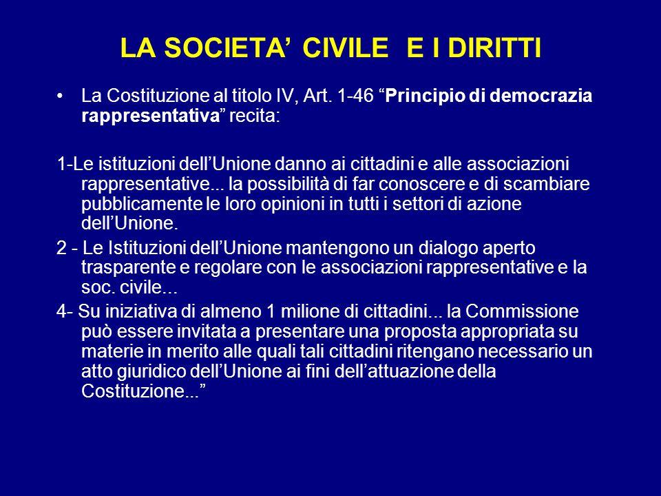 LA SOCIETA' CIVILE E I DIRITTI La Costituzione al titolo IV, Art.
