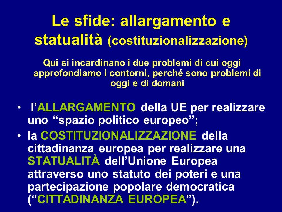 Le sfide: allargamento e statualità (costituzionalizzazione) Qui si incardinano i due problemi di cui oggi approfondiamo i contorni, perché sono problemi di oggi e di domani l'ALLARGAMENTO della UE per realizzare uno spazio politico europeo ; la COSTITUZIONALIZZAZIONE della cittadinanza europea per realizzare una STATUALITÀ dell'Unione Europea attraverso uno statuto dei poteri e una partecipazione popolare democratica ( CITTADINANZA EUROPEA ).