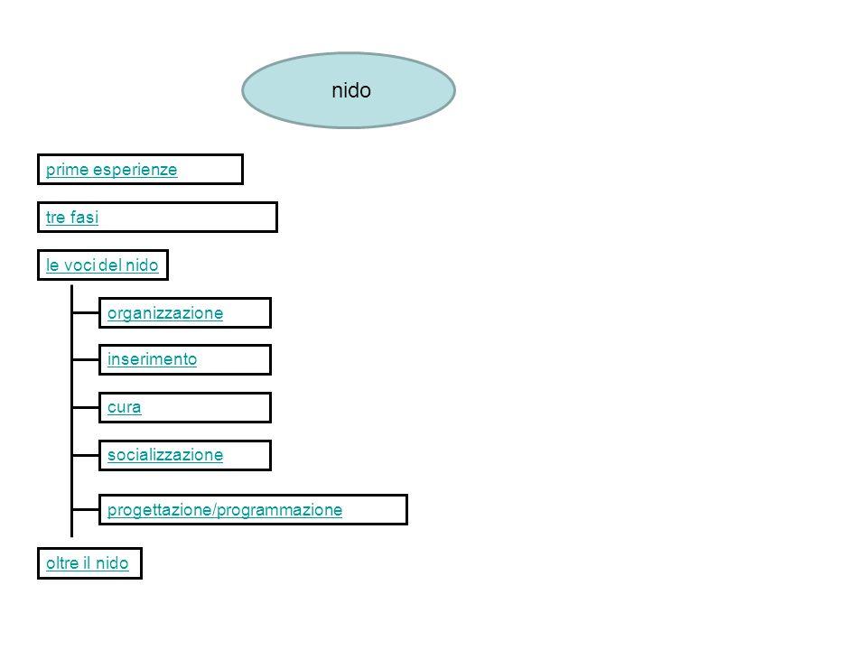 nido prime esperienze tre fasi le voci del nido organizzazione inserimento cura socializzazione progettazione/programmazione oltre il nido