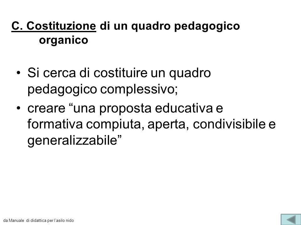 """C. Costituzione di un quadro pedagogico organico Si cerca di costituire un quadro pedagogico complessivo; creare """"una proposta educativa e formativa c"""