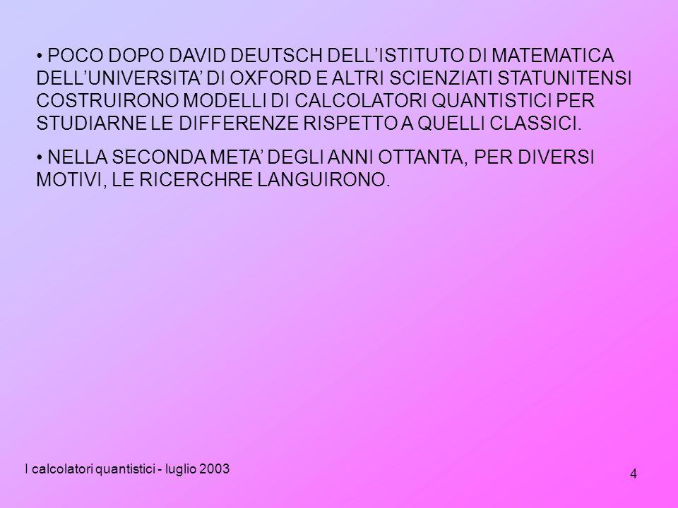 I calcolatori quantistici - luglio 2003 4 POCO DOPO DAVID DEUTSCH DELL'ISTITUTO DI MATEMATICA DELL'UNIVERSITA' DI OXFORD E ALTRI SCIENZIATI STATUNITENSI COSTRUIRONO MODELLI DI CALCOLATORI QUANTISTICI PER STUDIARNE LE DIFFERENZE RISPETTO A QUELLI CLASSICI.