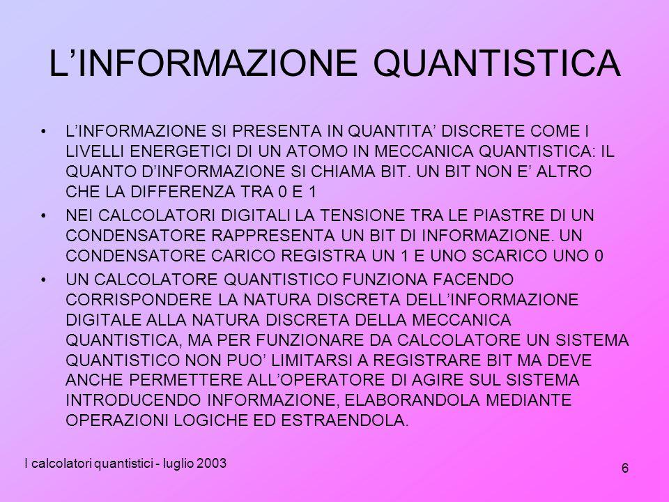 I calcolatori quantistici - luglio 2003 6 L'INFORMAZIONE QUANTISTICA L'INFORMAZIONE SI PRESENTA IN QUANTITA' DISCRETE COME I LIVELLI ENERGETICI DI UN ATOMO IN MECCANICA QUANTISTICA: IL QUANTO D'INFORMAZIONE SI CHIAMA BIT.