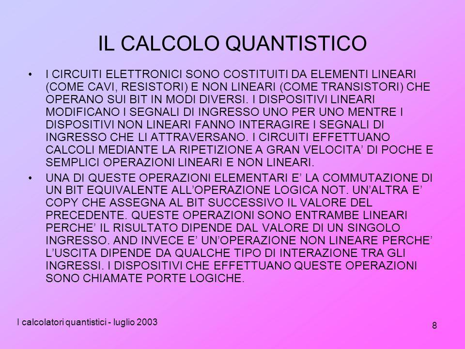 I calcolatori quantistici - luglio 2003 8 IL CALCOLO QUANTISTICO I CIRCUITI ELETTRONICI SONO COSTITUITI DA ELEMENTI LINEARI (COME CAVI, RESISTORI) E NON LINEARI (COME TRANSISTORI) CHE OPERANO SUI BIT IN MODI DIVERSI.
