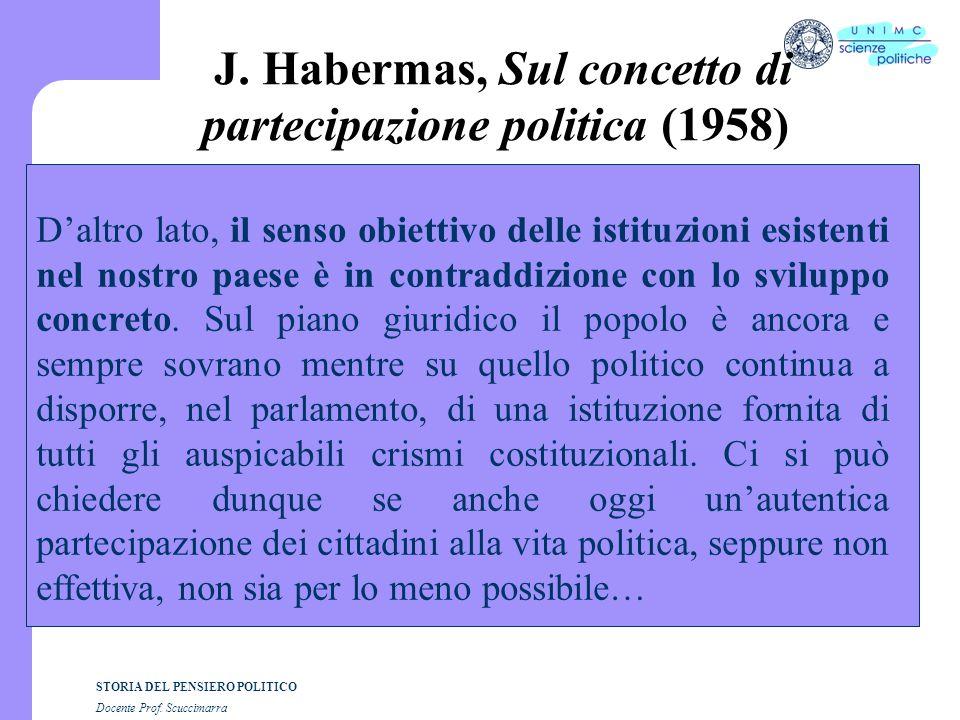 STORIA DEL PENSIERO POLITICO Docente Prof.Scuccimarra J.