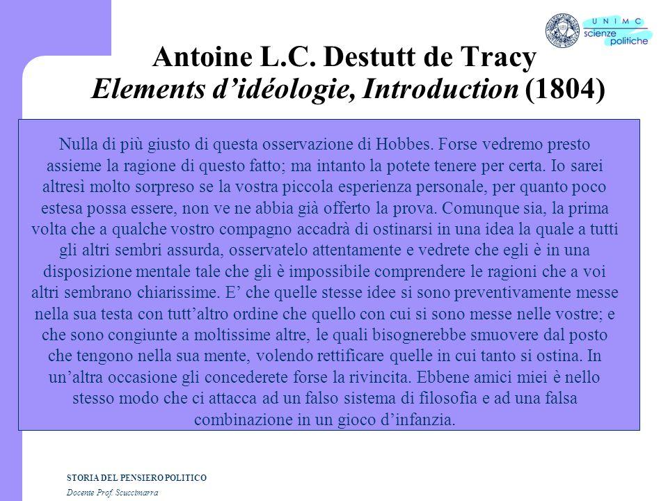 STORIA DEL PENSIERO POLITICO Docente Prof.Scuccimarra Antoine L.C.