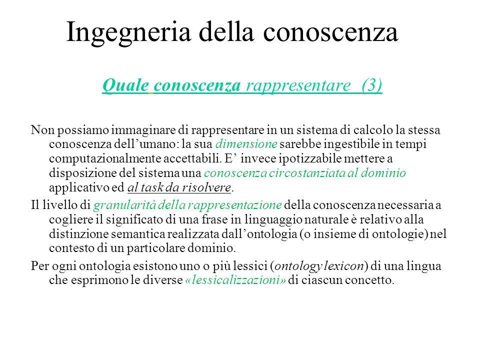 Ingegneria della conoscenza Quale conoscenza rappresentare (3) Non possiamo immaginare di rappresentare in un sistema di calcolo la stessa conoscenza dell'umano: la sua dimensione sarebbe ingestibile in tempi computazionalmente accettabili.