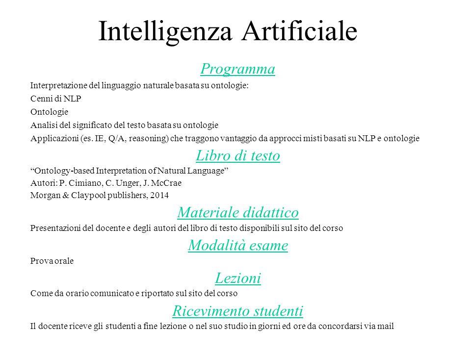 Intelligenza Artificiale Programma Interpretazione del linguaggio naturale basata su ontologie: Cenni di NLP Ontologie Analisi del significato del testo basata su ontologie Applicazioni (es.