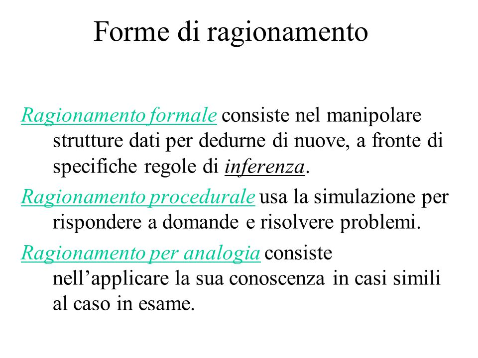 Forme di ragionamento Ragionamento formale consiste nel manipolare strutture dati per dedurne di nuove, a fronte di specifiche regole di inferenza. Ra