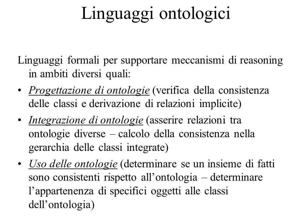 Linguaggi ontologici Linguaggi formali per supportare meccanismi di reasoning in ambiti diversi quali: Progettazione di ontologie (verifica della consistenza delle classi e derivazione di relazioni implicite) Integrazione di ontologie (asserire relazioni tra ontologie diverse – calcolo della consistenza nella gerarchia delle classi integrate) Uso delle ontologie (determinare se un insieme di fatti sono consistenti rispetto all'ontologia – determinare l'appartenenza di specifici oggetti alle classi dell'ontologia)