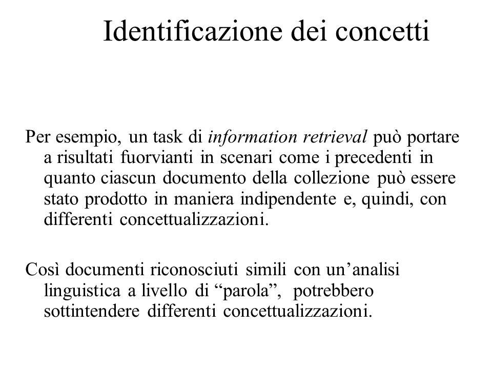 Identificazione dei concetti Per esempio, un task di information retrieval può portare a risultati fuorvianti in scenari come i precedenti in quanto ciascun documento della collezione può essere stato prodotto in maniera indipendente e, quindi, con differenti concettualizzazioni.