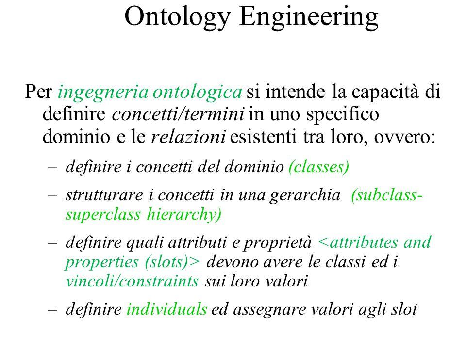 Ontology Engineering Per ingegneria ontologica si intende la capacità di definire concetti/termini in uno specifico dominio e le relazioni esistenti t