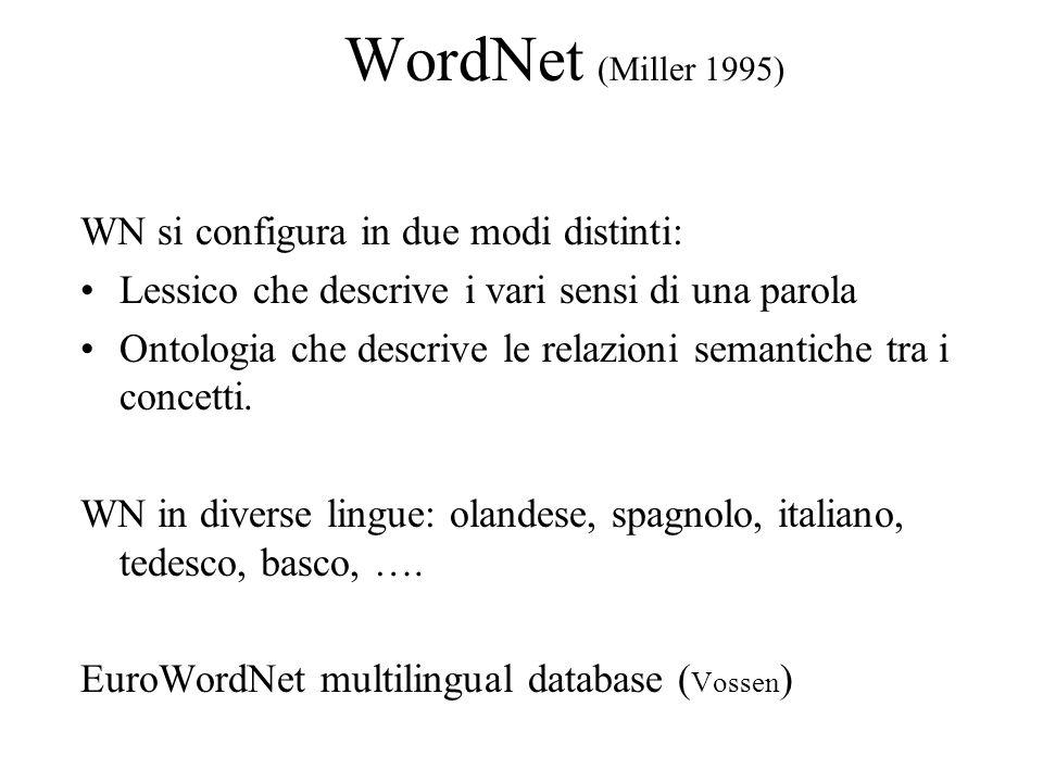 WordNet (Miller 1995) WN si configura in due modi distinti: Lessico che descrive i vari sensi di una parola Ontologia che descrive le relazioni semantiche tra i concetti.