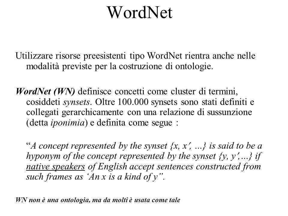 WordNet Utilizzare risorse preesistenti tipo WordNet rientra anche nelle modalità previste per la costruzione di ontologie. WordNet (WN) definisce con