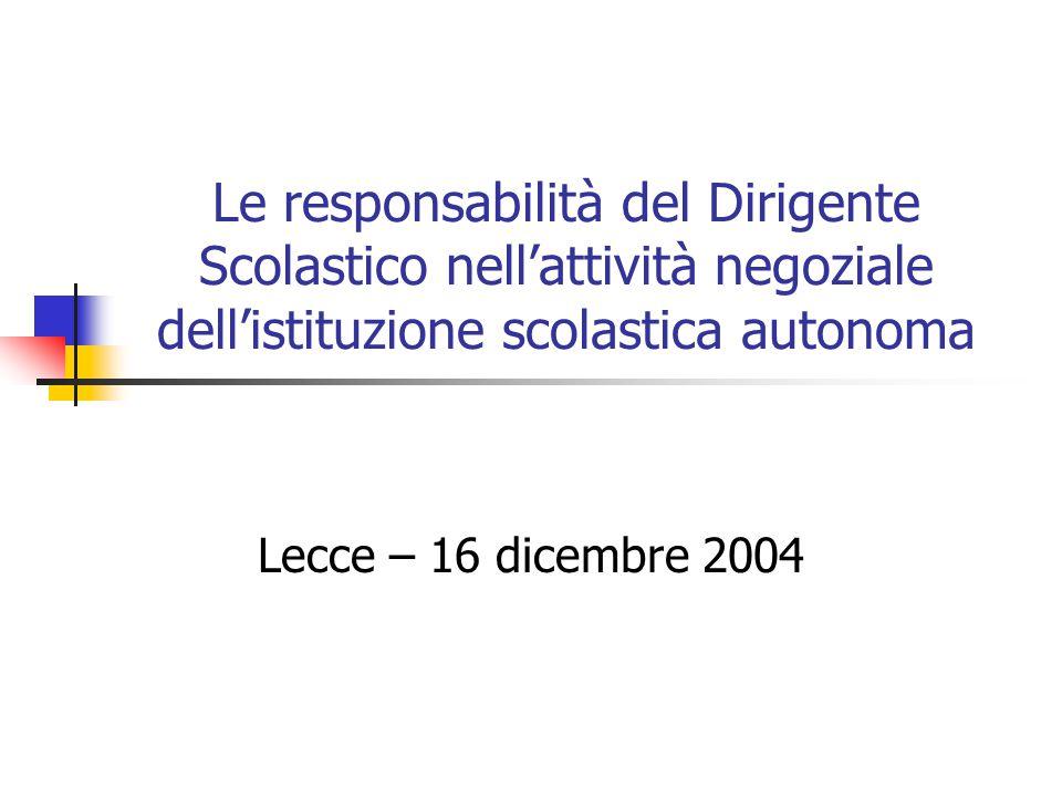 Le responsabilità del Dirigente Scolastico nell'attività negoziale dell'istituzione scolastica autonoma Lecce – 16 dicembre 2004