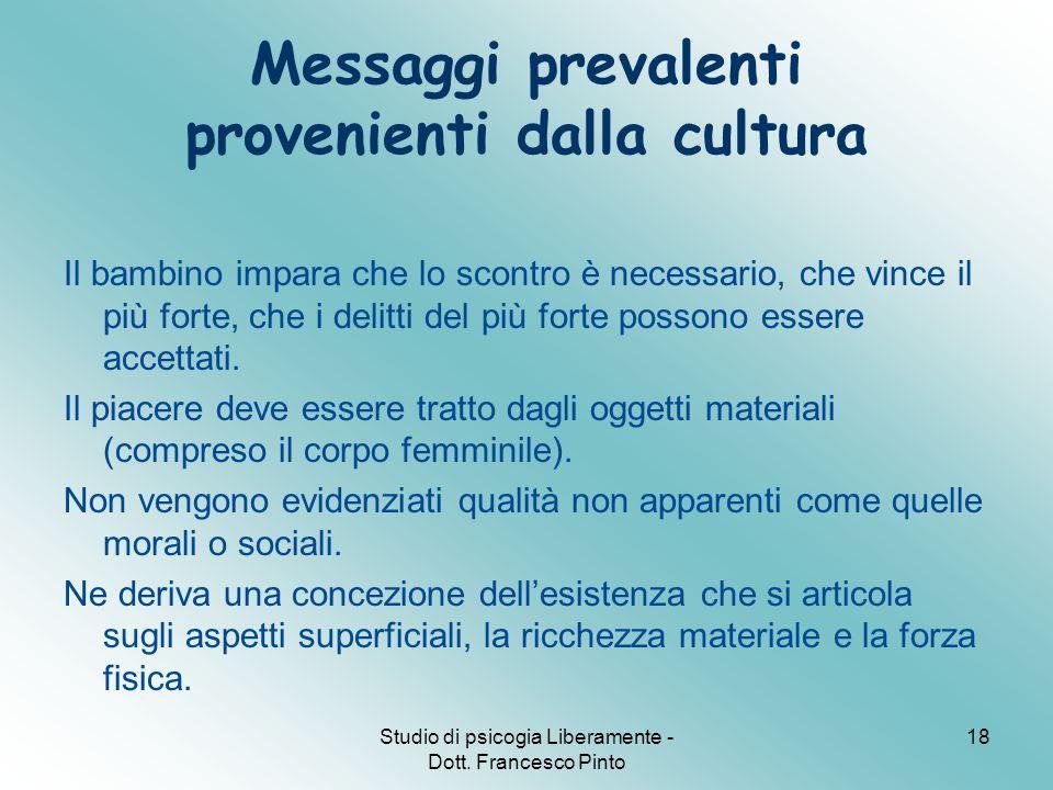 Studio di psicogia Liberamente - Dott. Francesco Pinto 18 Messaggi prevalenti provenienti dalla cultura Il bambino impara che lo scontro è necessario,