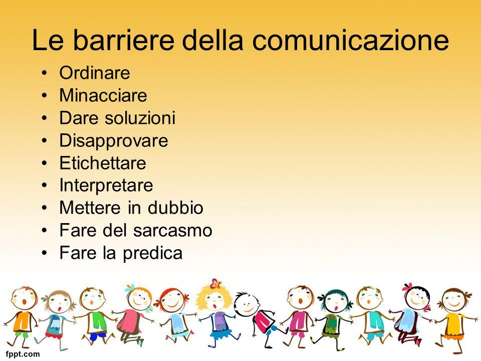 Le barriere della comunicazione Ordinare Minacciare Dare soluzioni Disapprovare Etichettare Interpretare Mettere in dubbio Fare del sarcasmo Fare la p