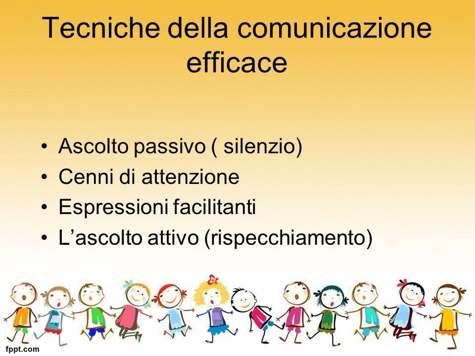 Tecniche della comunicazione efficace Ascolto passivo ( silenzio) Cenni di attenzione Espressioni facilitanti L'ascolto attivo (rispecchiamento)