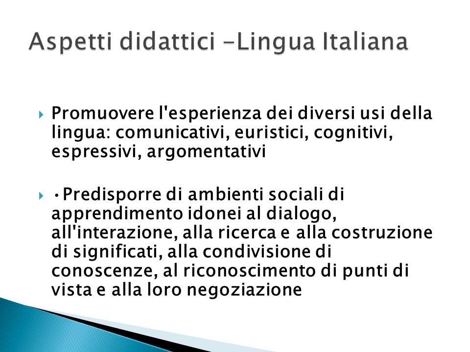  Promuovere l'esperienza dei diversi usi della lingua: comunicativi, euristici, cognitivi, espressivi, argomentativi Predisporre di ambienti sociali