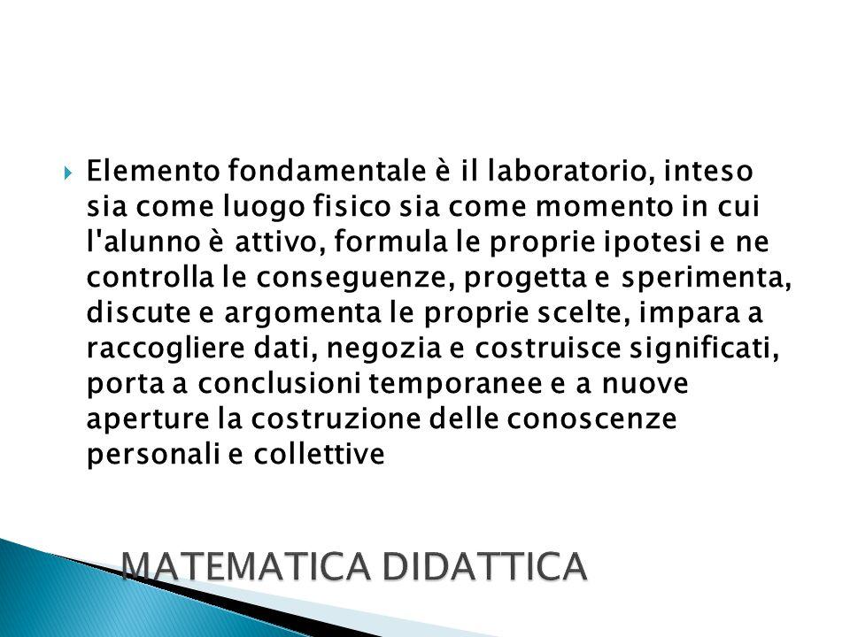  Elemento fondamentale è il laboratorio, inteso sia come luogo fisico sia come momento in cui l'alunno è attivo, formula le proprie ipotesi e ne cont