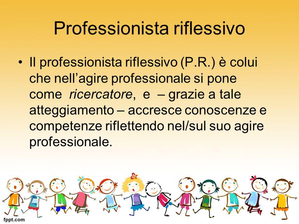 Professionista riflessivo Il professionista riflessivo (P.R.) è colui che nell'agire professionale si pone come ricercatore, e – grazie a tale atteggi