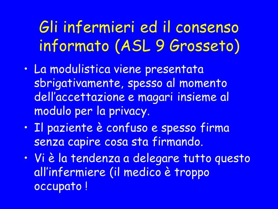 Gli infermieri ed il consenso informato (ASL 9 Grosseto ) I moduli sono incomprensibili Hanno come obiettivo la protezione del medico e della struttura.