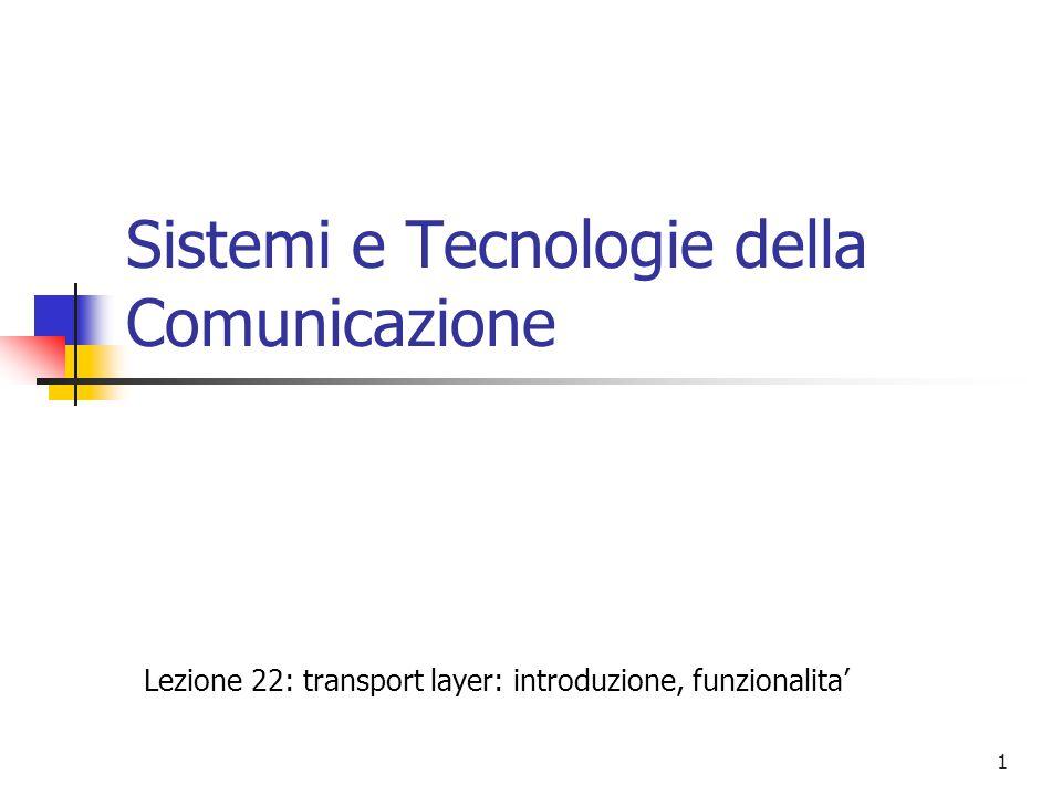 1 Sistemi e Tecnologie della Comunicazione Lezione 22: transport layer: introduzione, funzionalita'
