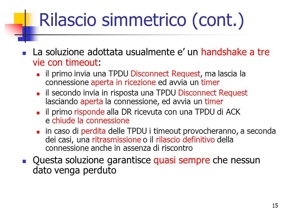 15 Rilascio simmetrico (cont.) La soluzione adottata usualmente e' un handshake a tre vie con timeout: il primo invia una TPDU Disconnect Request, ma lascia la connessione aperta in ricezione ed avvia un timer il secondo invia in risposta una TPDU Disconnect Request lasciando aperta la connessione, ed avvia un timer il primo risponde alla DR ricevuta con una TPDU di ACK e chiude la connessione in caso di perdita delle TPDU i timeout provocheranno, a seconda dei casi, una ritrasmissione o il rilascio definitivo della connessione anche in assenza di riscontro Questa soluzione garantisce quasi sempre che nessun dato venga perduto