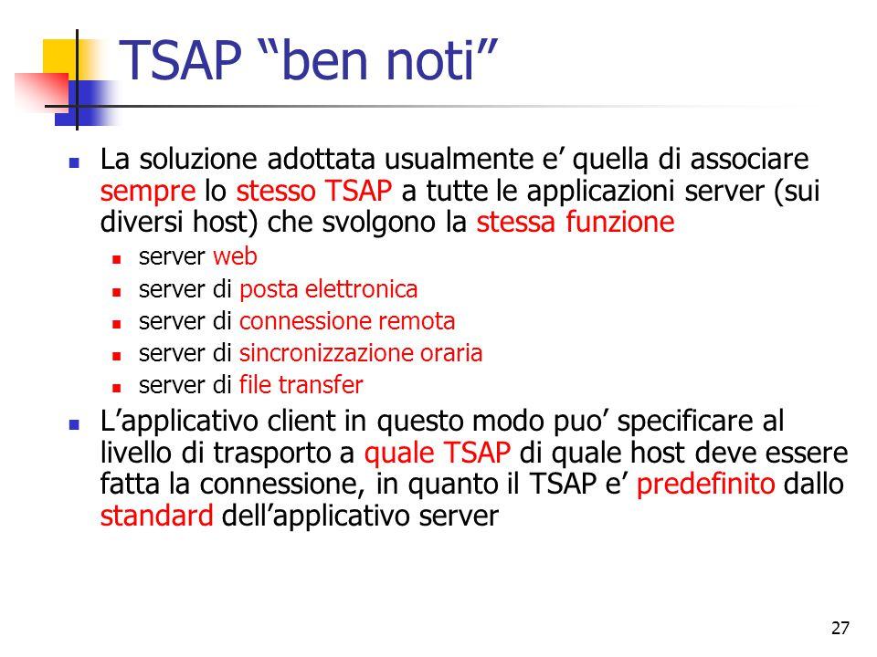 27 TSAP ben noti La soluzione adottata usualmente e' quella di associare sempre lo stesso TSAP a tutte le applicazioni server (sui diversi host) che svolgono la stessa funzione server web server di posta elettronica server di connessione remota server di sincronizzazione oraria server di file transfer L'applicativo client in questo modo puo' specificare al livello di trasporto a quale TSAP di quale host deve essere fatta la connessione, in quanto il TSAP e' predefinito dallo standard dell'applicativo server