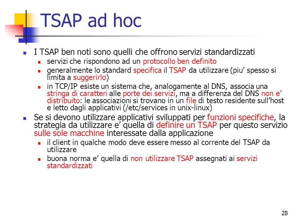 28 TSAP ad hoc I TSAP ben noti sono quelli che offrono servizi standardizzati servizi che rispondono ad un protocollo ben definito generalmente lo standard specifica il TSAP da utilizzare (piu' spesso si limita a suggerirlo) in TCP/IP esiste un sistema che, analogamente al DNS, associa una stringa di caratteri alle porte dei servizi, ma a differenza del DNS non e' distribuito: le associazioni si trovano in un file di testo residente sull'host e letto dagli applicativi (/etc/services in unix-linux) Se si devono utilizzare applicativi sviluppati per funzioni specifiche, la strategia da utilizzare e' quella di definire un TSAP per questo servizio sulle sole macchine interessate dalla applicazione il client in qualche modo deve essere messo al corrente del TSAP da utilizzare buona norma e' quella di non utilizzare TSAP assegnati ai servizi standardizzati