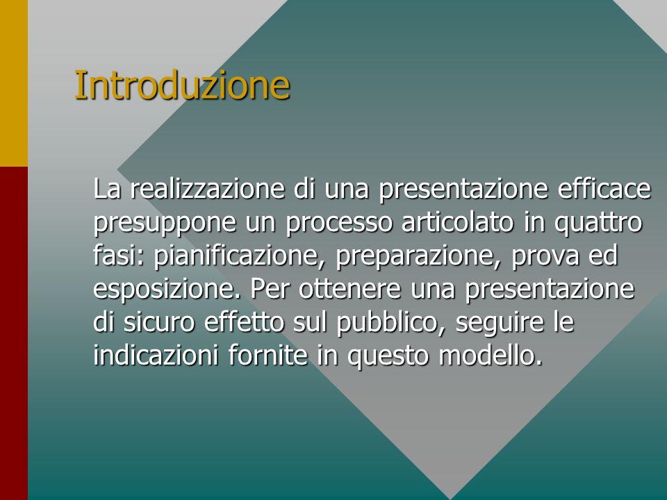 Introduzione La realizzazione di una presentazione efficace presuppone un processo articolato in quattro fasi: pianificazione, preparazione, prova ed esposizione.