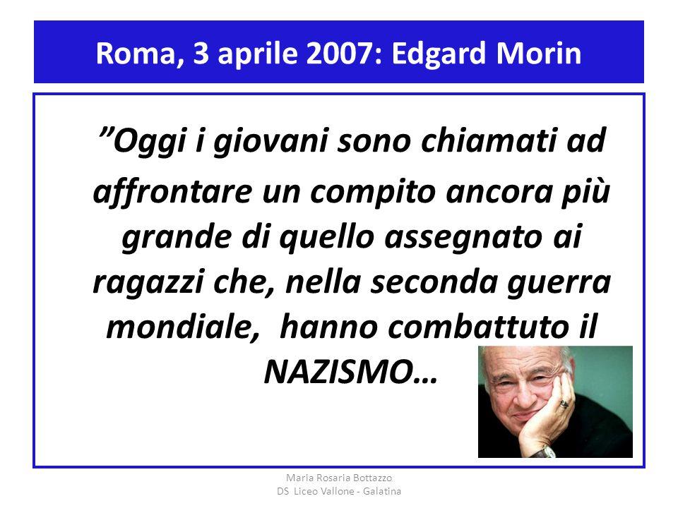 """Roma, 3 aprile 2007: Edgard Morin """"Oggi i giovani sono chiamati ad affrontare un compito ancora più grande di quello assegnato ai ragazzi che, nella s"""