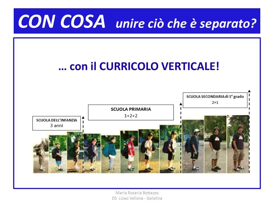 CON COSA unire ciò che è separato? Maria Rosaria Bottazzo DS Liceo Vallone - Galatina … con il CURRICOLO VERTICALE!
