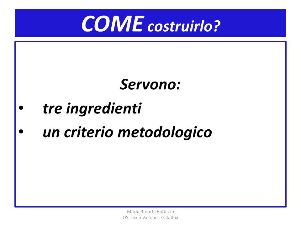 COME costruirlo? Servono: tre ingredienti un criterio metodologico Maria Rosaria Bottazzo DS Liceo Vallone - Galatina