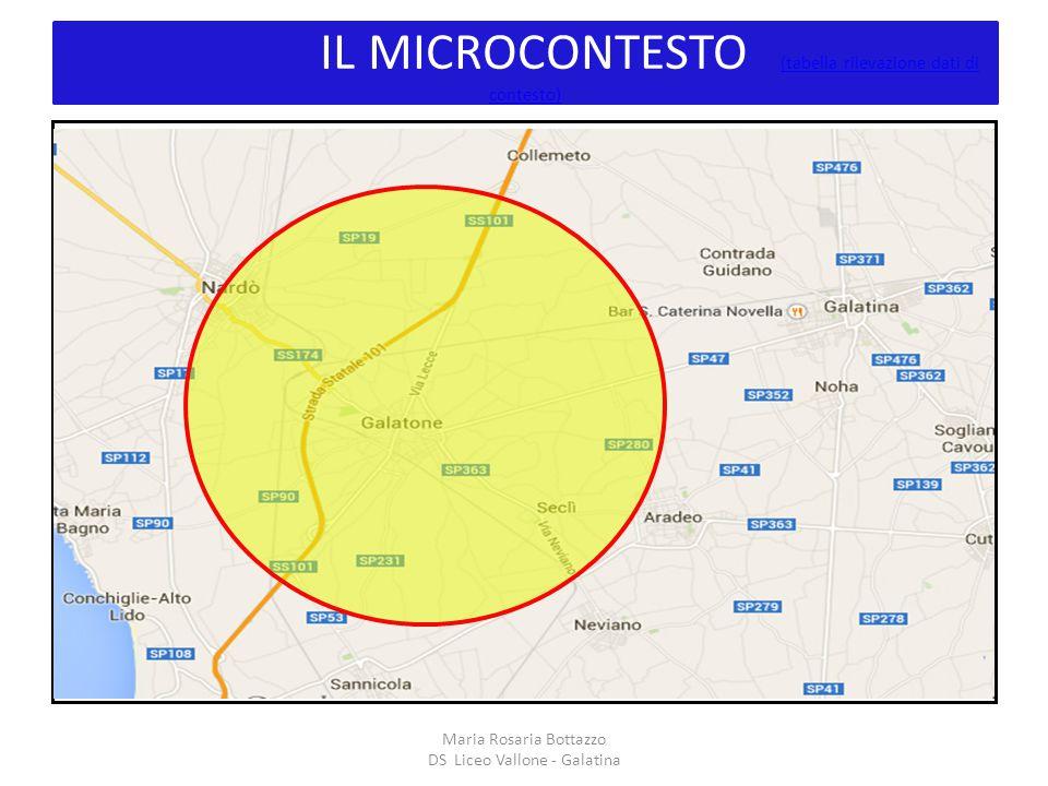 IL MICROCONTESTO (tabella rilevazione dati di contesto) (tabella rilevazione dati di contesto) I Maria Rosaria Bottazzo DS Liceo Vallone - Galatina