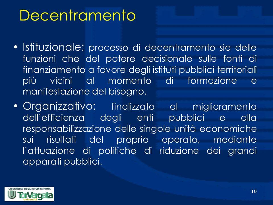 10 Decentramento Istituzionale: processo di decentramento sia delle funzioni che del potere decisionale sulle fonti di finanziamento a favore degli istituti pubblici territoriali più vicini al momento di formazione e manifestazione del bisogno.