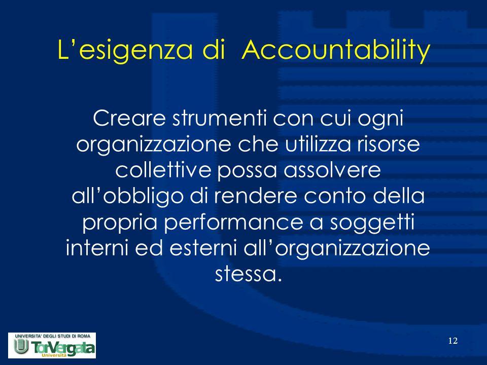 12 L'esigenza di Accountability Creare strumenti con cui ogni organizzazione che utilizza risorse collettive possa assolvere all'obbligo di rendere conto della propria performance a soggetti interni ed esterni all'organizzazione stessa.