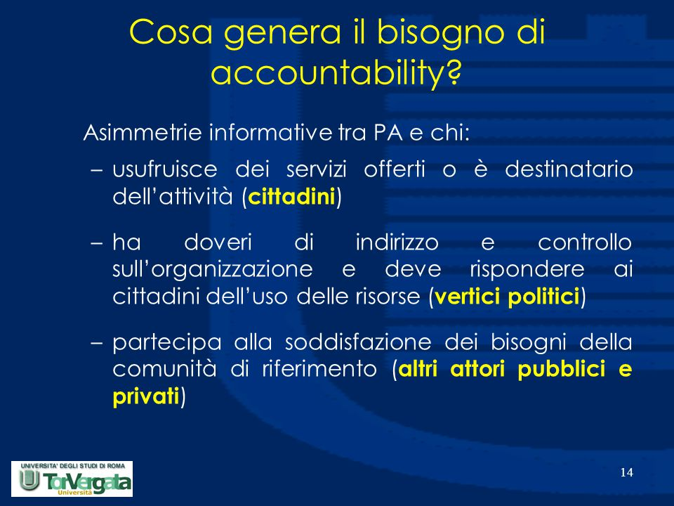 14 Cosa genera il bisogno di accountability? Asimmetrie informative tra PA e chi: –usufruisce dei servizi offerti o è destinatario dell'attività ( cit