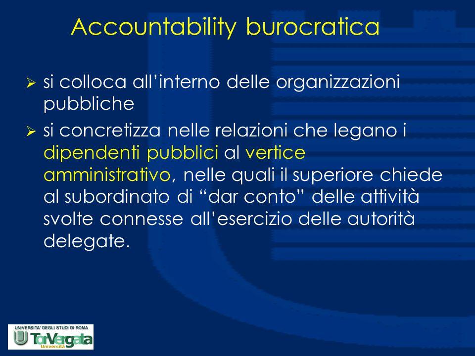 Accountability burocratica  si colloca all'interno delle organizzazioni pubbliche  si concretizza nelle relazioni che legano i dipendenti pubblici al vertice amministrativo, nelle quali il superiore chiede al subordinato di dar conto delle attività svolte connesse all'esercizio delle autorità delegate.