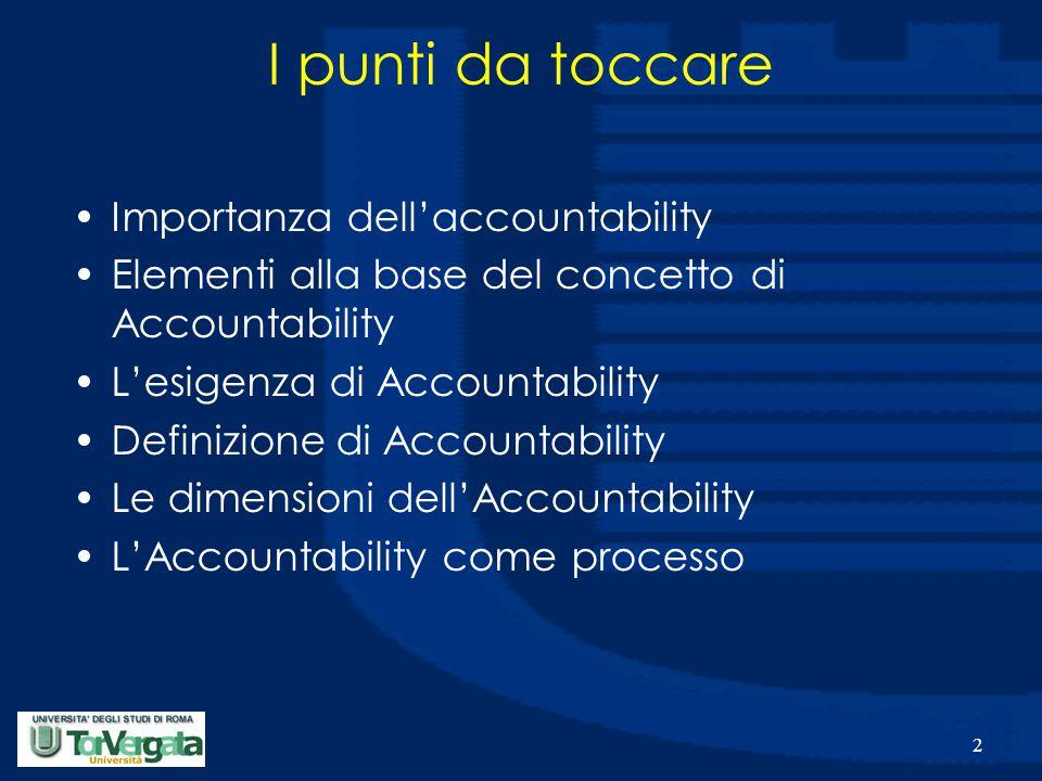2 Importanza dell'accountability Elementi alla base del concetto di Accountability L'esigenza di Accountability Definizione di Accountability Le dimensioni dell'Accountability L'Accountability come processo I punti da toccare