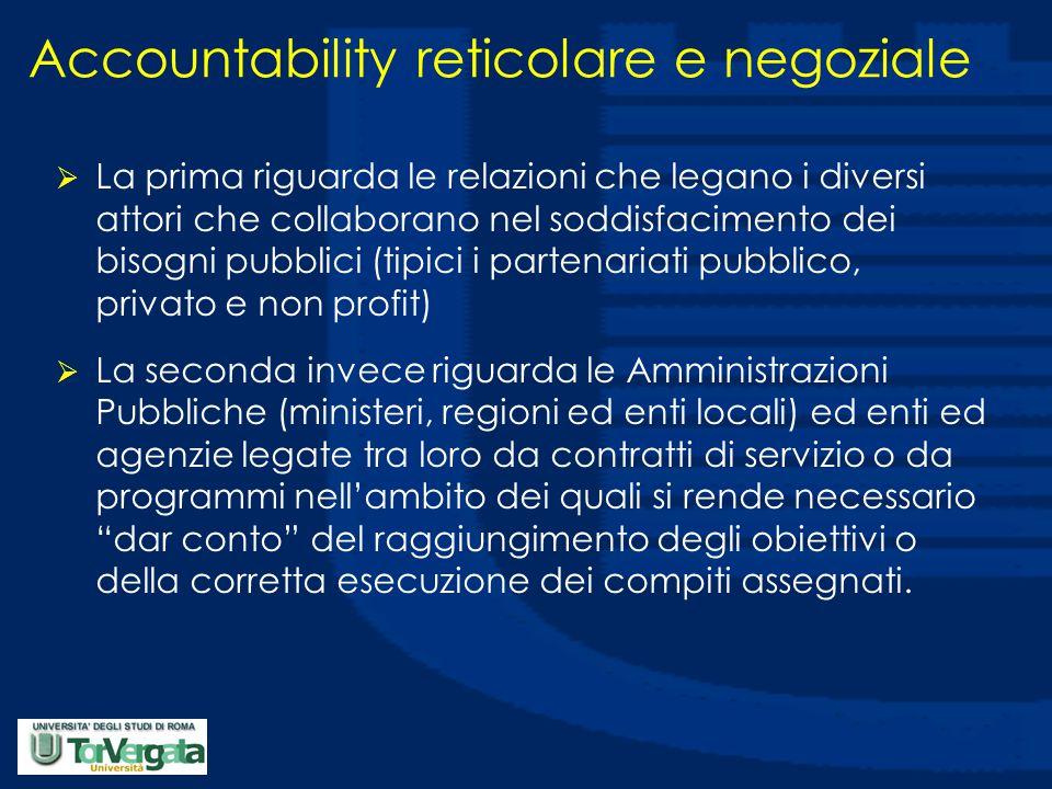 Accountability reticolare e negoziale  La prima riguarda le relazioni che legano i diversi attori che collaborano nel soddisfacimento dei bisogni pub
