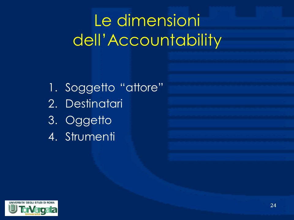 24 Le dimensioni dell'Accountability 1.Soggetto attore 2.Destinatari 3.Oggetto 4.Strumenti