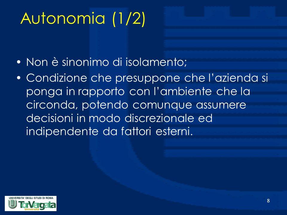 8 Autonomia (1/2) Non è sinonimo di isolamento; Condizione che presuppone che l'azienda si ponga in rapporto con l'ambiente che la circonda, potendo c