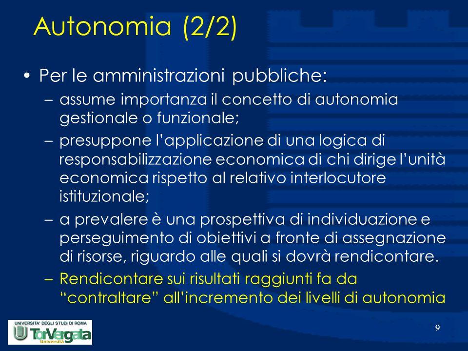 9 Autonomia (2/2) Per le amministrazioni pubbliche: –assume importanza il concetto di autonomia gestionale o funzionale; –presuppone l'applicazione di