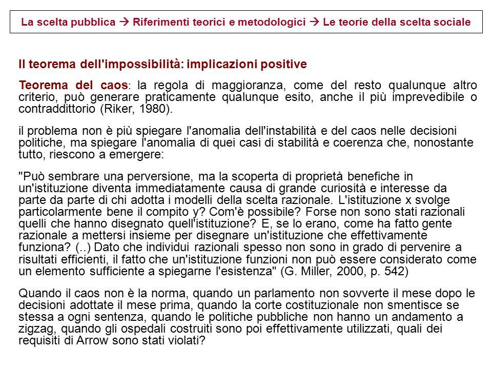 La scelta pubblica  Riferimenti teorici e metodologici 3.