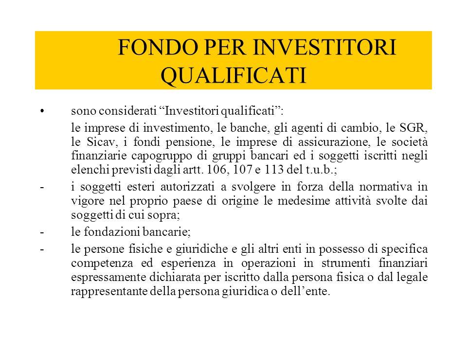 """FONDO PER INVESTITORI QUALIFICATI sono considerati """"Investitori qualificati"""": le imprese di investimento, le banche, gli agenti di cambio, le SGR, le"""