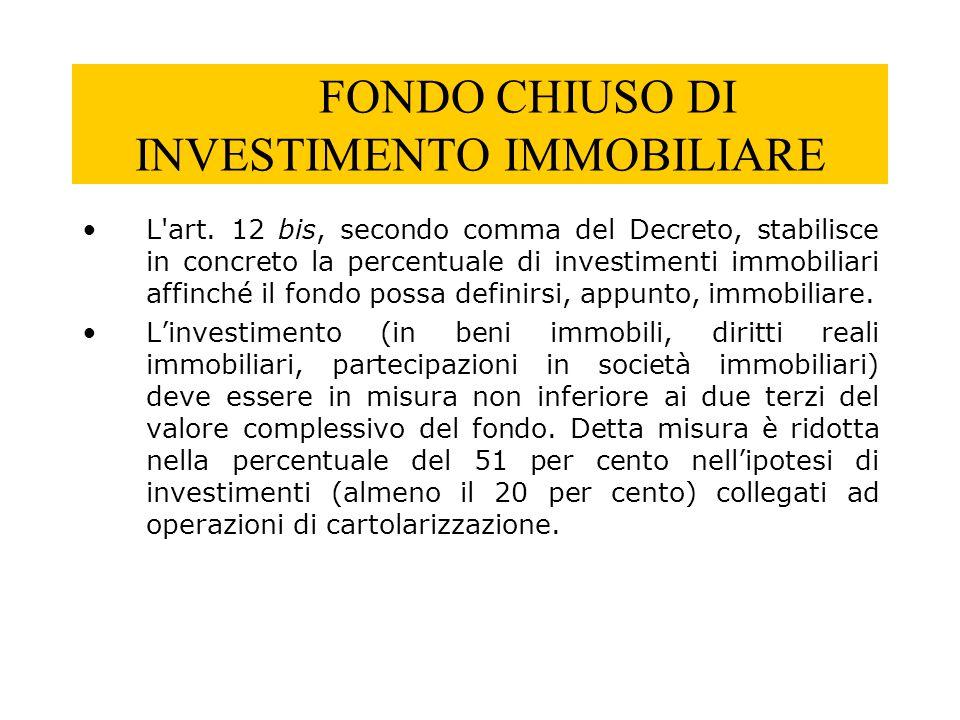 FONDO CHIUSO DI INVESTIMENTO IMMOBILIARE L'art. 12 bis, secondo comma del Decreto, stabilisce in concreto la percentuale di investimenti immobiliari a
